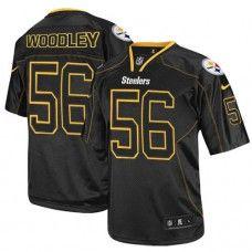 NFL Men's Elite Nike  Pittsburgh Steelers #56 LaMarr Woodley Lights Out Black Jersey $129.99