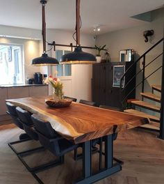 Live Edge Dining Table Acacia Wood 2 Slab Length – Food for Healty Unique Dining Tables, Dining Room Table Decor, Wooden Dining Tables, Dining Table Design, Wood Slab Table, Rustic Wooden Table, Wood Table Design, Dining Room Inspiration, Küchen Design