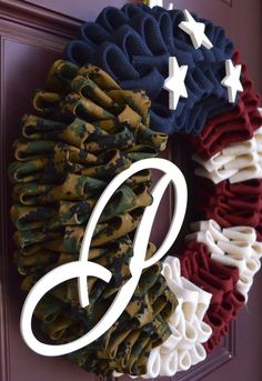 Rustic Monogram Marine Corps Wreath by CreativWreathConcept