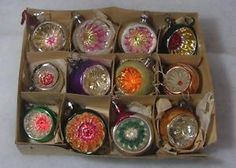 12 Concave Vintage Christmas Xmas Tree Glass Baubles Decorations boxed