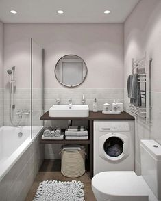 Looking for ideas to transform your small bathroom? Maximize your bathroom with these tips and ideas for your small bathroom spaces. Bathrooms are usually small spaces that are called upon to do many things. Bathroom With Tub Diy Bathroom, Bathroom Design Small, Laundry In Bathroom, Bathroom Layout, Bathroom Designs, Small Bathrooms, Simple Bathroom, Bathroom Cabinets, Bathroom Vanities
