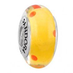 Pandora Murano Glass Bead Yellow Polka Dots $37.00
