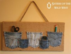 What to do with that favorite pair of pants who's time is up? Make a DIY Denim Pocket Organizer!