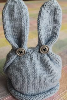 Blue Bunny Easter Knit Hat