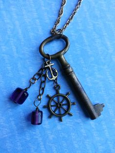 Your place to buy and sell all things handmade Jar Jewelry, Anchor Jewelry, Anchor Necklace, Beaded Jewelry, Handmade Jewelry, Jewelry Making, Jewelry Ideas, Jewlery, Skeleton Key Necklace
