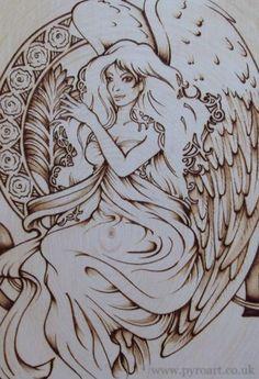 pyrographys of angels | Pyroart. Pyrography by Nader Kohbodi - North Wales, UK