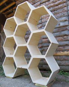 Shelving Unit SALE ~modular shelves / bookshelf / bookcase / salon shelves /retail display /yoga studio -set of 9 unfinished hexagon shelves