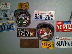 License plates and old headlight covers to decorate a car themed room.