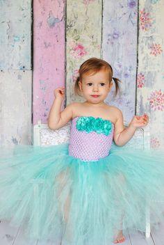 Newborn Size 9 Lavender and Aqua Tutu Dress by krystalhylton