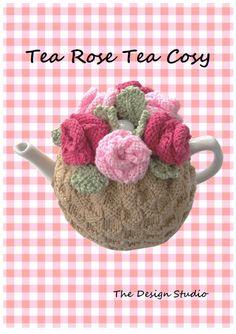 Tea Rose Tea Cosy Hand Knitting Pattern. PDF.