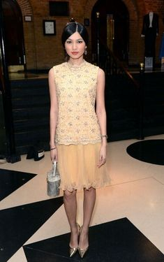 Gemma Chan attends the BAFTA Television Craft Awards 2014 Ctrl C Ctrl V, Gemma Chan, Gemma Styles, Red Carpet Looks, Beautiful Asian Girls, Stylish Girl, Yellow Dress, Skirt Fashion, Pretty Outfits