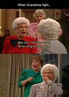 Golden Girls - This is how I'll insult people when I'm older. It's the Golden Girls version of a plague on both your houses. Haha Funny, Funny Memes, Funny Stuff, Memes Humor, Funny Things, Class Memes, Tv Memes, Funny Captions, Funny Fails