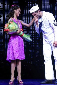 Misty Copeland gets a sweet kiss from Tony Yazbeck after her Broadway debut in ON THE TOWN #pinoftheday