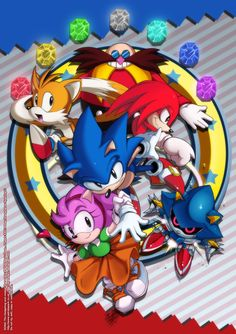 "Eggman, Knuckles the Echidna, Miles ""Tails"" Prower, Sonic the Hedgehog, Amy Rose and Metal Sonic"