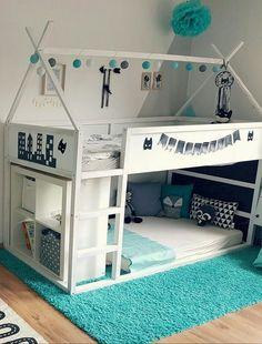 ikea kura bed for two / ikea kura bed ; ikea kura bed for two Kids Bedroom Boys, Ikea Kids Room, Cool Kids Bedrooms, Kids Bedroom Designs, Girl Room, Kids Rooms, Bed Designs, Design Bedroom, Kids Room Bed