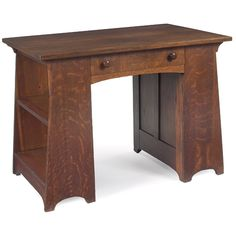 "L. & J.G. Stickley - Desk Table, #512. Quartersawn Oak. Fayetteville, New York. Circa 1910. 30"" x 40"" x 26-1/2""."