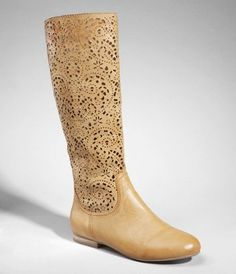TALL PERFORATED BOOT at Express. I adore the lace detail here.