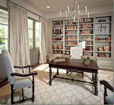 Love this bookshelf - love the curtains http://clunygrey.blogspot.com