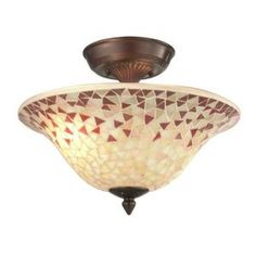 Mosaic 2-Light Antique Copper Semi-Flush Mount-STH11214 at The Home Depot