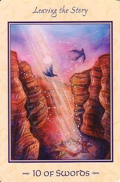 """Tarot of Transformation Ten 10 of Swords """"LeavingTheStory""""-Oracle cards. Mystical, visionary and fantasy art. Discover some of the most spiritual artwork by amazing artist from around the world…."""