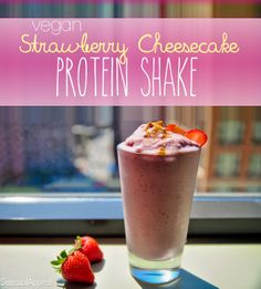 Strawberry Cheesecake Protein Shake (vegan/high protein)