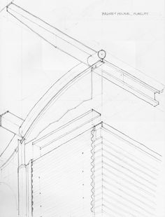 axonometric sketch of Murcutt's Magney house from drawings