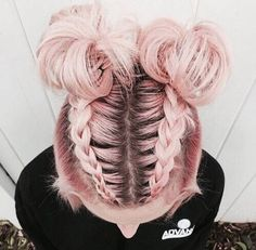❤️ ❤️ ❤️ Double Mohawk braid into high Space buns half-updo for medium to long hair |