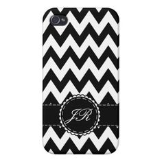 Black and White Zigzag Chevron with Label iPhone 4/4S Cases