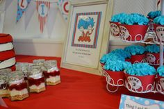 Thing one and Thing two twins baby shower | CatchMyParty.com