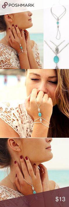 "⚜""Laci"" Turquoise Bracelet⚜ This is a must have Bohemian accessory for summer. Bracelet loops around middle finger and wrist for an ultra-chic vibe. Jewelry Bracelets"