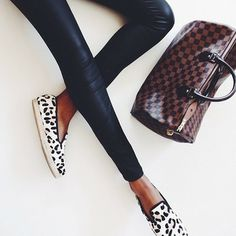 leather leggings and flats