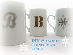 DIY Sharpie Christmas Mugs