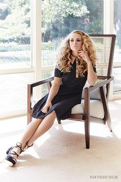 Britt Robertson wears a Tanya Taylor collared dress and Bionda Castana heels.