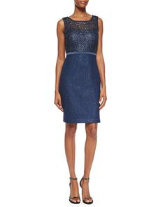 Sleeveless Metallic Lace Sheath Dress  by Kay Unger New York at Neiman Marcus.