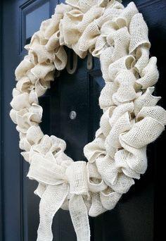 Rustic Burlap Wreath Shabby Chic Cottage Fall Decor Wedding Wreath on Etsy, $54.00