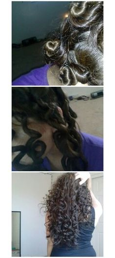 """My try on the """"non-heat curls"""" that I've seen all over pinterest! In the first pic, I twisted chunks of my hair into buns all over my head. I left these in over night secured with bobby pins. Second pic, in the morning, I let the all out & began to seperate into twos or threes. I then lightly brushed them with my fingers. The last pic is my end result! I recommend trying this simple, fast process for curls that are to die for!"""