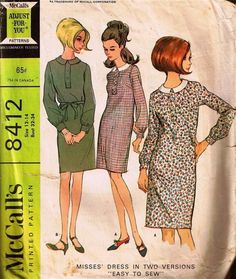 McCalls's 8412 sewing pattern. Dress with peter pan collar and optional belt #sewing #60s #vintage