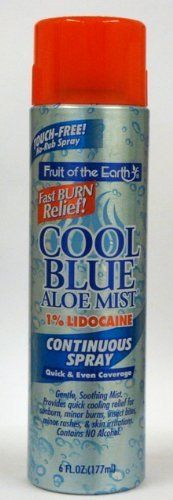 Fruit of the Earth Cool Blue Aloe Mist Continuous Spray 6 Oz Pack of 3 by Fruit of the Earth 1689 Delivers Cooling Soothing Aloe Vera in a Quick and Easy Spray Touchfree. Sunburn Relief, Insect Bites, Beauty Skin, Aloe Vera, Mists, Remedies, Alcohol, Fruit, Sun Tanning