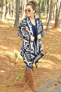 aztec cardigan with jeans outfit,How to layer in winter http://www.justtrendygirls.com/how-to-layer-in-winter/
