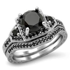 BLACK DIAMOND ENGAGEMENT RINGS | Fancy Black Diamond Engagement Wedding Band Set