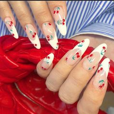 Cherry French-tips January 18 2020 at nails Best Acrylic Nails, Acrylic Nail Designs, French Tip Nail Art, French Tips, Cherry Nail Art, Acylic Nails, Funky Nails, Fire Nails, Minimalist Nails