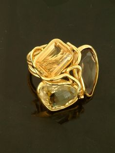 Pascia citrine and diamond ring - Metallic Zvn1KscWN9