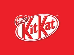 Kit Kat Logo. The logo is slanted upwards giving it a positive and fun feeling. The K is repeated twice in a very large font which really draws in attention.