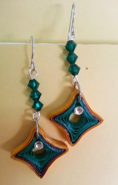 Handmade waterproof quilled earrings material : acid free paper with swarovski flat base and crystals KM Q33
