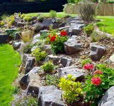 Rock Garden Design, Garden Cottage, Landscaping With Rocks, Terrace Garden, Garden Projects, Garden Inspiration, Lawn, Planters, Herbs