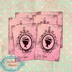 Gift Tags Large Distressed Vintage Style Cameo by MaBellePapeterie, $3.00