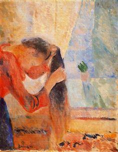 """Edvard Munch - """"Girl Combing Her Hair"""" - 1892 http://www.arteeblog.com/2014/09/pinturas-de-mulheres-penteando-o-cabelo.html"""