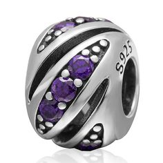 Fits Pandora bracelet Purple zircon round sterling silver beads Authertic 925 sterling silver jewelry diy charm wholesale #Affiliate