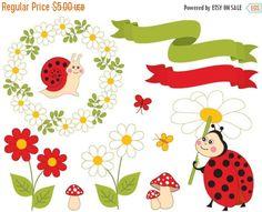 50% OFF SALE Summer Ladybug Clipart - Digital Vector Ladybird, Daisy, Wreath, Snail, Ladybug Clip Art #clipart #vector #illustration #thecreativemill