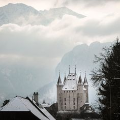 The Castle  #switzerland #thun #castle #landmark #ancient #winter #town #architecture #mountains